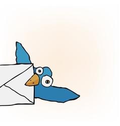 Cute Little Blue Bird carrying an envelope vector image