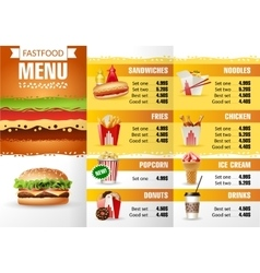 Design menu fast food vector