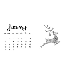 Desk calendar template for month January vector