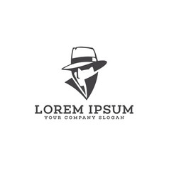 detective cowboy logo design concept template vector image