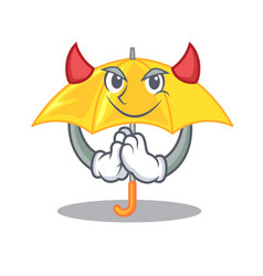 Devil beautiful open umbrella on yellow character vector