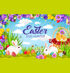 Easter egg hunting basket with bunnies and chicks vector