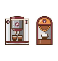 Espresso machine and coffee maker line icons vector