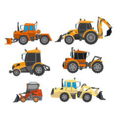 Excavator trucks and bulldozers for heavy vector