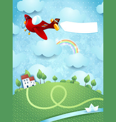 fantasy landscape with airplane banner and river vector image