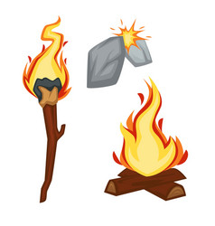 Fire stone age sparkle flame torch and campfire vector