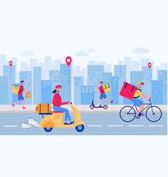 food delivery city composition vector image