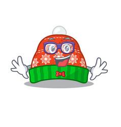 Geek winter hat in mascot shape vector