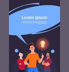 group of men thinking point finger to light bulb vector image
