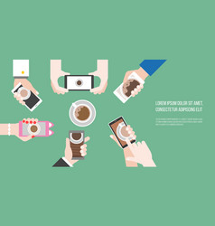 groups of hands holding smart phone take photo vector image