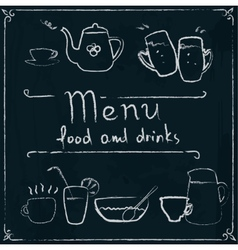 Hand drawn restaurant menu design on blackboard vector image