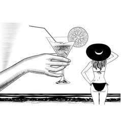 hand with a cocktail and girl in bathing suit vector image