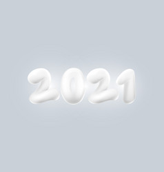 happy new year abstract 3d white number 2021 vector image