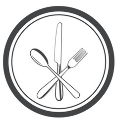 icon of plate with fork knife and spoon vector image