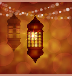 Illuminated arabic lamp lantern with string of vector