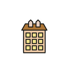 Isolated brown color low-rise municipal house in vector