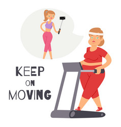 keep on moving background with fat women sporty vector image