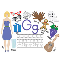 Letter g english alphabet writing practice vector