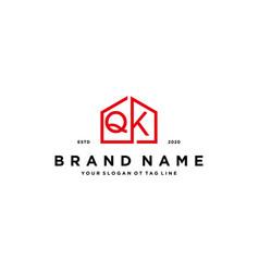 Letter qk home logo design concept vector