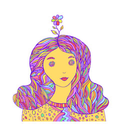 Lovely girl hipster with a flower on her head vector