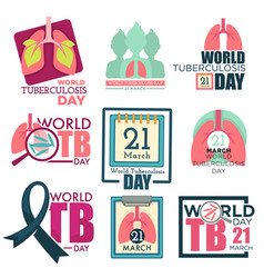 lungs and stethoscope world tuberculosis day vector image