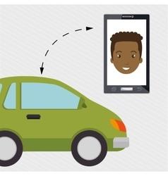 Man smartphone car web vector