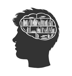 Man with books library in brain sketch vector