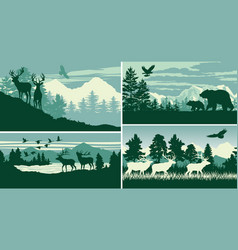 mountain forest animal wildlife landscape vector image