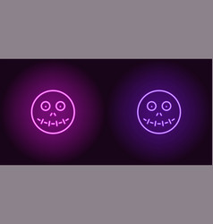 neon zombie head in purple and violet color vector image
