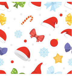 new year seamless pattern of christmas hats and vector image