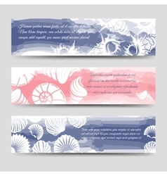 Ocean banners with sea shells vector image