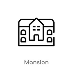 Outline mansion icon isolated black simple line vector