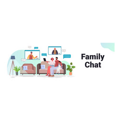 Parents and child having virtual meeting vector