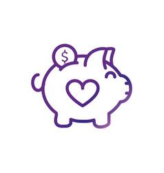 Piggy bank money love charity help donation vector