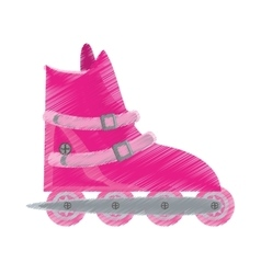 pink roller skate sport activity vector image
