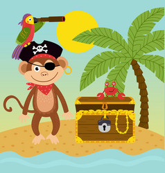 Pirate monkey on island near treasure chest vector