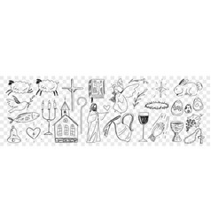Religious symbols from bible doodle set vector
