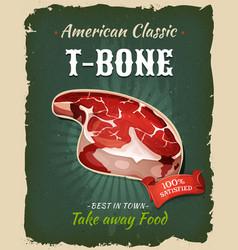 Retro fast food t-bone steak poster vector