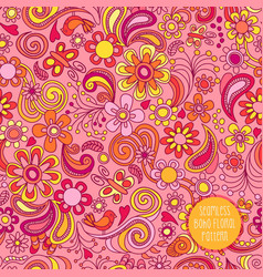 Seamless boho floral pattern vector
