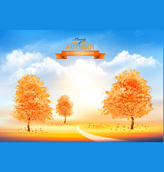 season autumn background with gold trees vector image