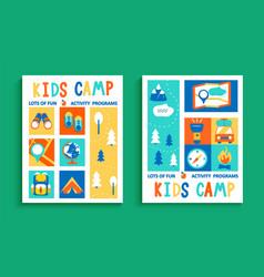 set kids summer camp flyers vector image