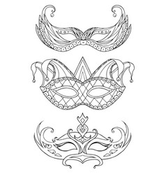 set of hand-drawn doodle face masks festival vector image