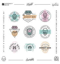 Set of honest man clothing company labels vector