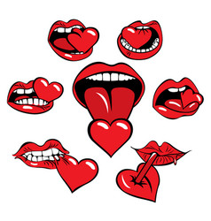 set of icons with a mouth that eats the heart vector image