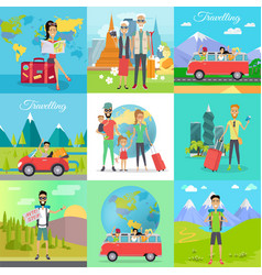 Set traveling concepts in flat design vector