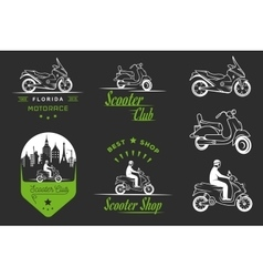Set Vintage Sign and Logos Scooter vector image