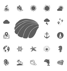 shell icon sea marine silhouette ocean symbol sign vector image