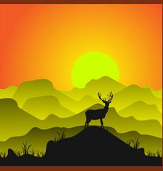 silhouette a deer vector image