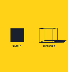 Simple and difficult black square and cube vector