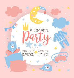slumber party invitation banner template light vector image
